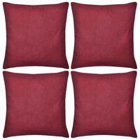 vidaXL Калъфки за възглавници, 4 бр, памук, 50 x 50 см, бордо