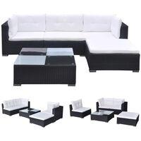 vidaXL Градински комплект с възглавници, 5 части, черен полиратан