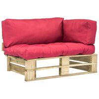 vidaXL Градински диван от палети с червени възглавници, бор