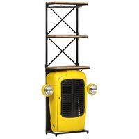 """vidaXL Шкаф за вино """"Трактор"""", жълт, 49x31x170 см, мангово дърво масив"""