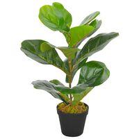 vidaXL Изкуствено растение фикус лирата със саксия, зелено, 45 см