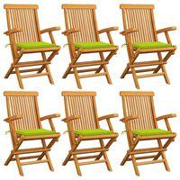 vidaXL Градински столове с яркозелени възглавници 6 бр тик масив