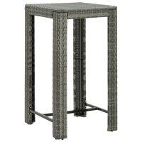 vidaXL Градинска бар маса, сива, 60,5x60,5x110,5 см, полиратан