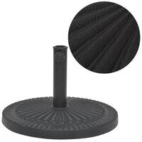 vidaXL Основа за чадър, кръгла, смола, черна, 14 кг