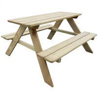 vidaXL Детска маса за пикник, 89x89,6x50,8 см, борово дърво