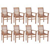 vidaXL Стифиращи трапезни столове, 8 бр, тик масив