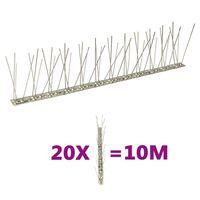 vidaXL 2-редови иноксови шипове срещу птици и гълъби, 20 бр, 10 м