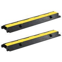 vidaXL Защитни рампи за кабели, 2 бр, 1 канал, гума, 100 см