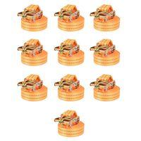 vidaXL Укрепващ колан с тресчотка, 10 бр, 1 тон, 6мх38мм, оранжев