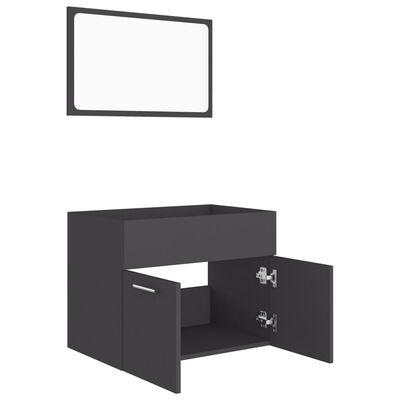 vidaXL Комплект мебели за баня от 2 части, черен, ПДЧ