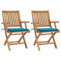 vidaXL Градински столове, 2 бр, сини възглавници, тиково дърво масив