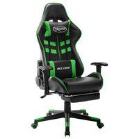 vidaXL Геймърски стол с подложка крака черно и зелено изкуствена кожа