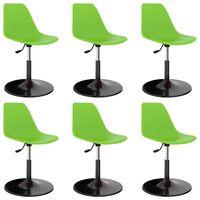vidaXL Въртящи се трапезни столове, 6 бр, зелени, PP