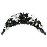 vidaXL Коледна арка с LED лампички, черна, 90 см, PVC