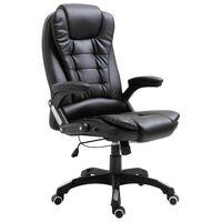 vidaXL Офис стол, черен, изкуствена кожа