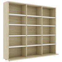 vidaXL CD шкаф, бяло и дъб сонома, 102x23x89,5 см, ПДЧ