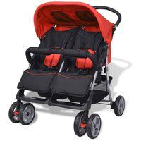 vidaXL Бебешка количка за близнаци, стомана, червено и черно