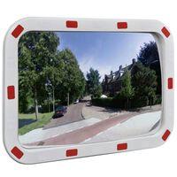 vidaXL Изпъкнало пътно огледало, правоъгълно, 40х60 см, с рефлектори