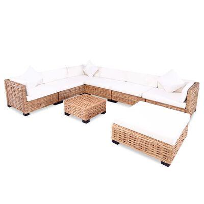vidaXL Комплект мека мебел, 27 части, естествен ратан