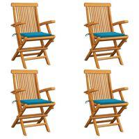 vidaXL Градински столове със сини възглавници 4 бр тиково дърво масив