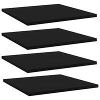 vidaXL Рафтове за етажерка, 4 бр, черни, 40x40x1,5 см, ПДЧ