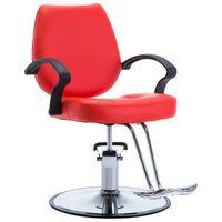 vidaXL Фризьорски стол, изкуствена кожа, червен