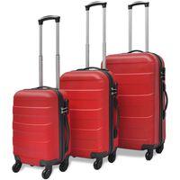 vidaXL комплект 3 броя твърди куфари на колелца, червени