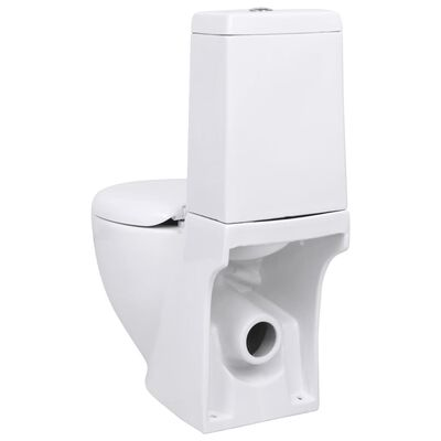 vidaXL Керамична тоалетна задно оттичане бяла