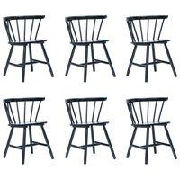 vidaXL Трапезни столове, 6 бр, черни, каучуково дърво масив