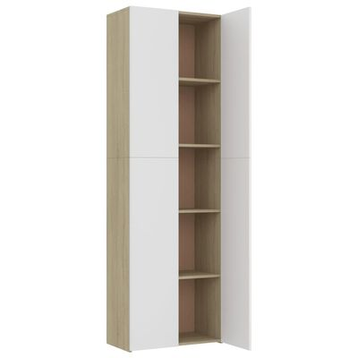 vidaXL Офис шкаф, бял и дъб сонома, 60x32x190 см, ПДЧ