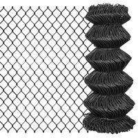 vidaXL Плетена оградна мрежа, стомана, 25x0,8 м, сива