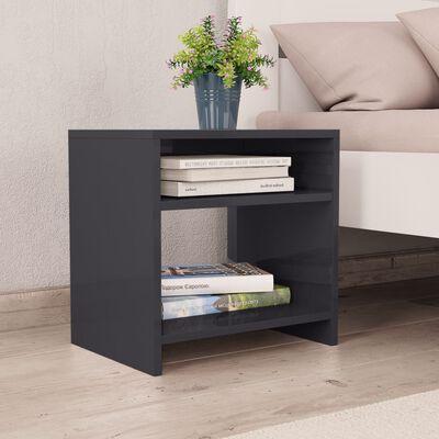 vidaXL Нощно шкафче, сиво със силен гланц, 40x30x40 см, ПДЧ
