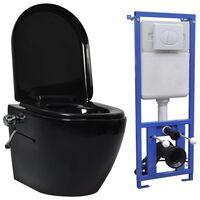 vidaXL Окачена тоалетна чиния без ръб, скрито казанче, керамика, черна