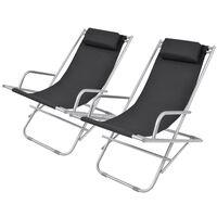 vidaXL Накланящи се къмпинг столове, 2 бр, стомана, черни