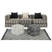 vidaXL Модулен комплект мека мебел, 12 части, текстил, ивици