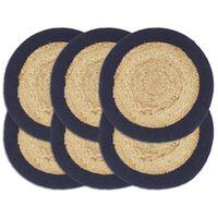 vidaXL Подложки за хранене 6 бр натурално и нейви 38 см юта и памук