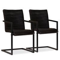 vidaXL Трапезни столове, 2 бр, антрацит, естествена кожа