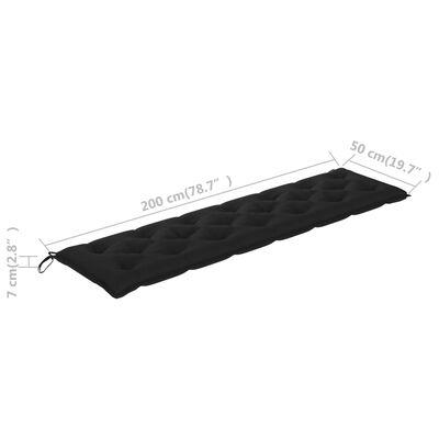 vidaXL Възглавница за градинска пейка, черна, 200x50x7 см, плат