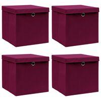 vidaXL Кутии за съхранение с капаци 4 бр тъмночервени 32x32x32 см плат