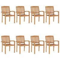 vidaXL Стифиращи градински столове 8 бр тик масив