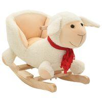vidaXL Люлееща се овца с плюшена облегалка, 60x32x50 см, бяла