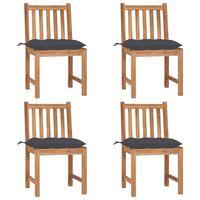 vidaXL Градински столове 4 бр с възглавници тиково дърво масив
