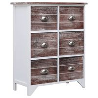 vidaXL Страничен шкаф с 6 чекмеджета, кафяв, 60x30x75 см, пауловния