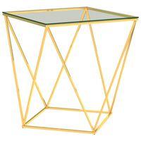 vidaXL Маса за кафе златно и прозрачно 50x50x55 cм неръждаема стомана