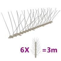 vidaXL 4-редови пластмасови шипове срещу птици и гълъби, 6 бр, 3 м