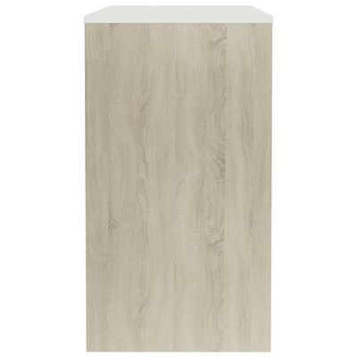 vidaXL Бюро, бяло и дъб сонома, 90x40x72 см, ПДЧ