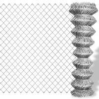 vidaXL Плетена оградна мрежа поцинкована стомана 25x1,5 м сребриста