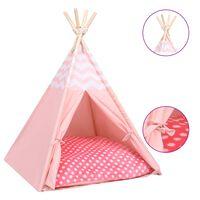 vidaXL Котешка палатка Типи с чанта, peach skin, розова, 60x60x70 см
