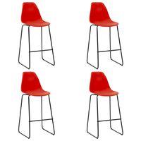vidaXL Бар столове, 4 бр, червени, пластмаса