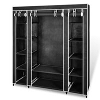vidaXL Текстилен гардероб с отделения и летви, 45 x 150 x176 см, черен